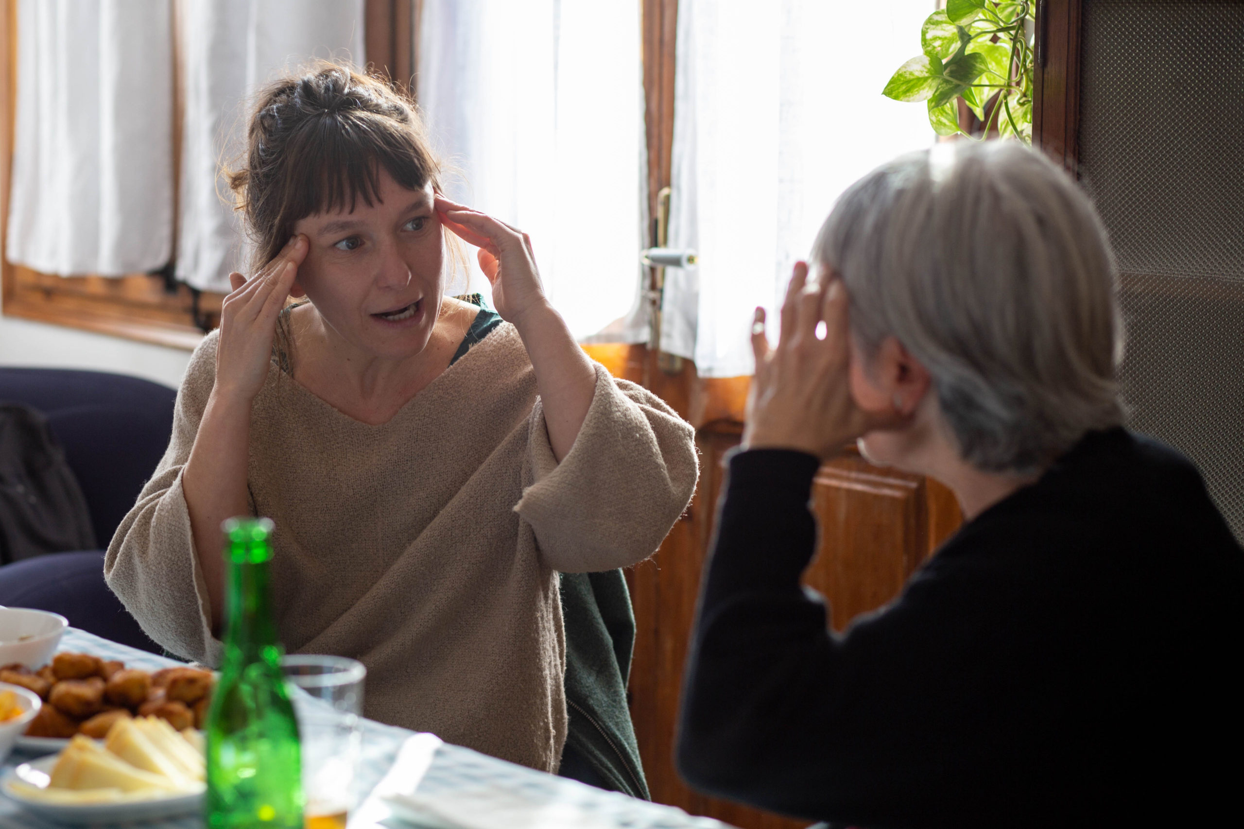 Una dona gesticulant amb les mans el cap mentre parla amb una altra al menjador de casa