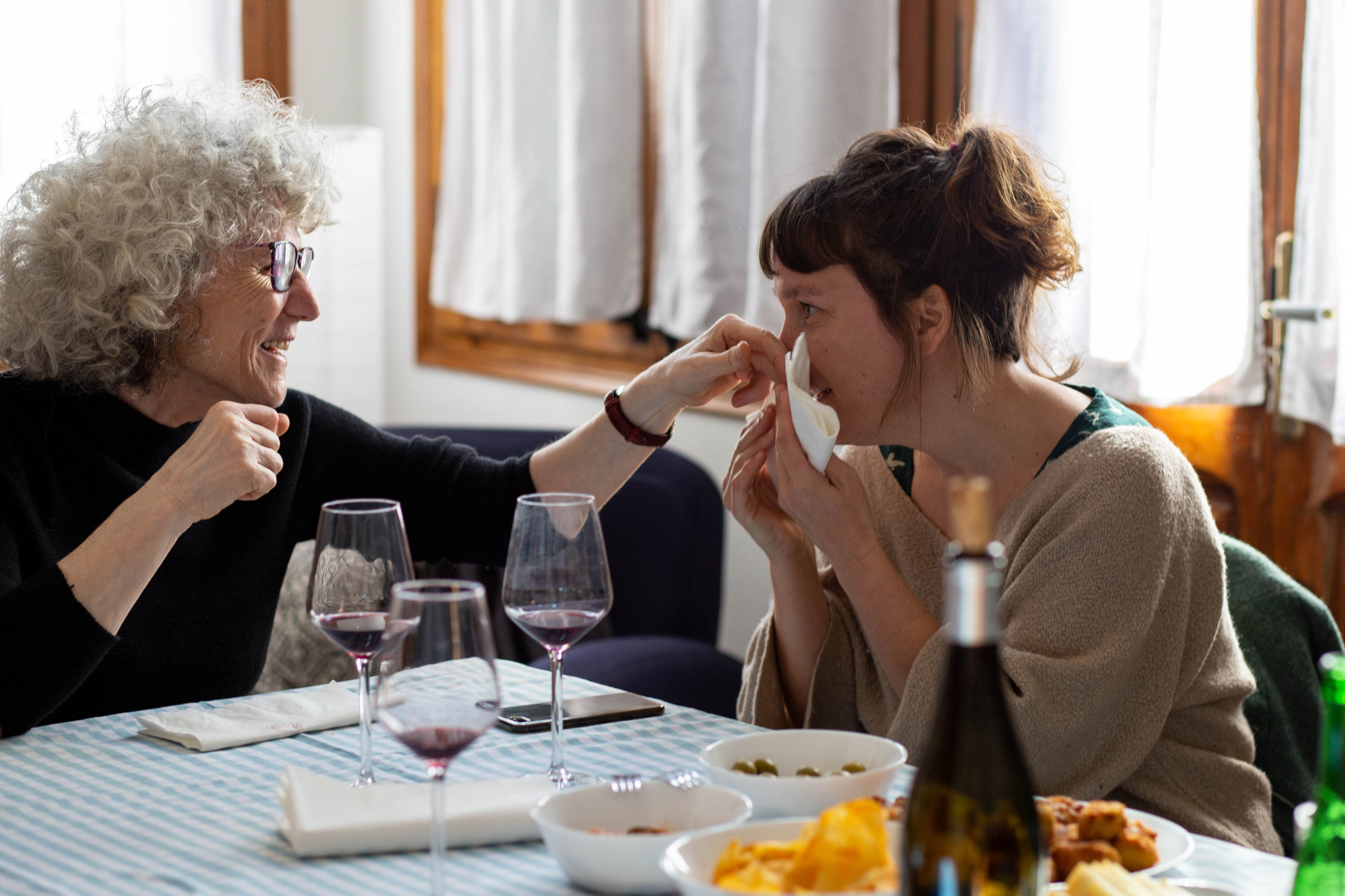 Dues dones agafades fent un gest carinyós en un dinar al menjador de casa