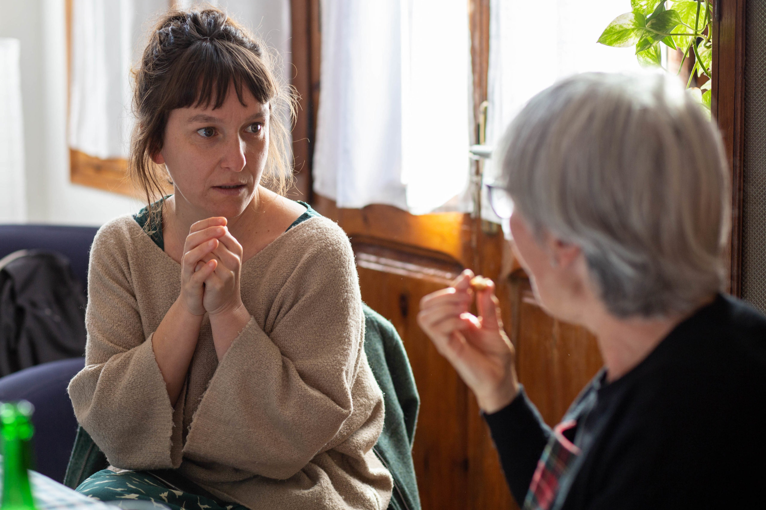 Dues dones parlant en un dinar al menjador de casa