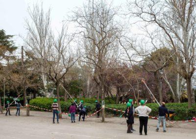 Grup de gent fent un curs de poda d'arbres en un parc